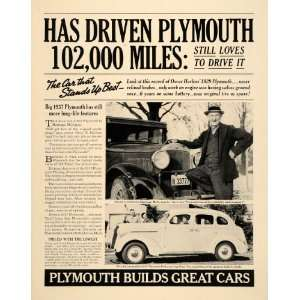 Ad Plymouth Cars Chrysler Hurless De Luxe Sedan   Original Print Ad
