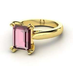 Quotation Ring, Emerald Cut Rhodolite Garnet 14K Yellow