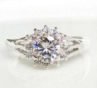 18K white gold GP swarovski crystal Engagement promise Ring