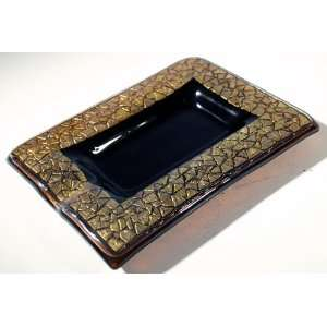 Art Glass with Gold Leaf Cigar Ashtray Golden Quadrate Home & Kitchen