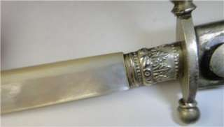 BRITISH NAVAL DIRK 1800 MOTHER PEARL HANDLE DAGGER KNIFE BLADE US