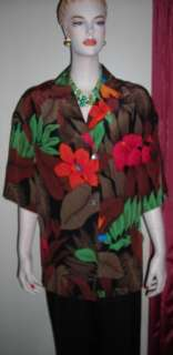 Ellen Tracy Brown Orange Green Tropic Silk Blouse Sz 12