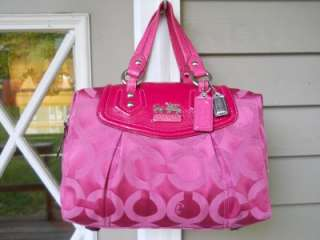 PREOWNED AUT Coach Pink OP ART Signature Sateen Audrey Satchel/Handbag
