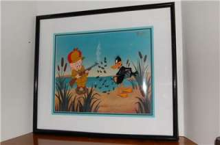 SIGNED DUCK HUNTING ANIMATION CEL LIMITED DAFFY DUCK ELMER FUDD