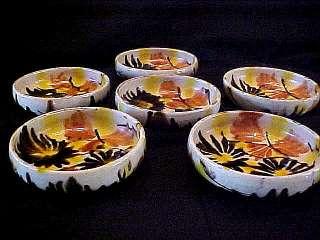Antique MEXICAN Art POTTERY / MAJOLICA Drip Glaze BOWLS Signed MEXICO