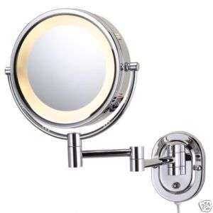 Jerdon Eclipse 8 Lighted Wall Mirror 5X Mag Nickel NEW