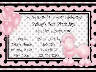 Personalized Pink Poodle Birthday Party Invitations