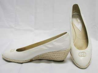 White Leather GUCCI Espadrille Wedge Pumps Size 38 7.5 8