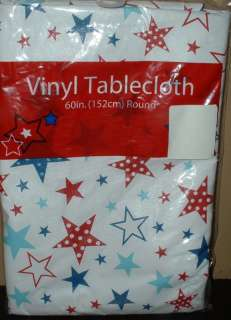 STARS RED WHITE BLUE TABLECLOTH~4TH OF JULY~60 ROUND