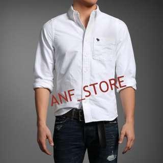 NWT Abercrombie WHITE Plain Oxford Muscle Mens Shirt M