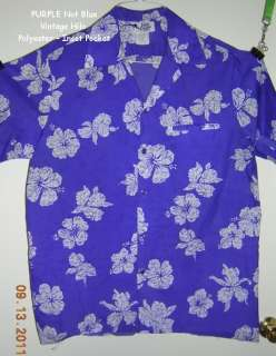 VTG Purple Hibicuss XL Classic Hawaiian Shirt Inset Pocket