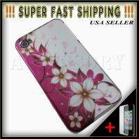 IPHONE 4S WHITE FLOWER PINK SNAP ON HARD COVER CASE + FREE SP