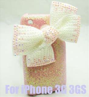Bling Bow pink Case Cover for iPhone 3G 3GS PB