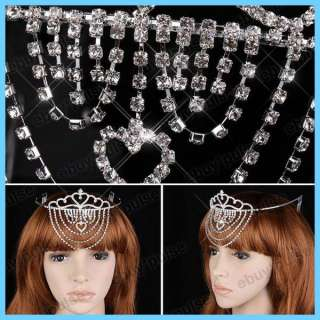 Wedding Bridal Prom Crystal Rhinestone Crown Comb Veil Tiara Headband