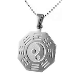 Stainless Steel Pendant with Octagon Shape and Ying Yang