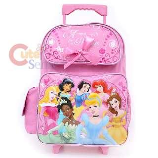 Disney Princess w Tiana School Roller Backpack Rolling Pink Lunch Bag
