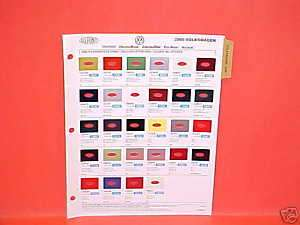 2000 VOLKSWAGEN EXTERIOR PAINT CHIPS COLOR CHART VW