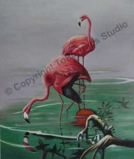 Pink Flamingos   Original Canvas Photo Art Oil Painting