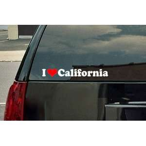 Love California Vinyl Decal   White with a red heart