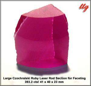 Large Czochralski Ruby Laser Rod Section for Faceting