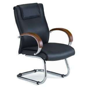 Apex Executive Leather Guest Chair with Wood Accents   OFM