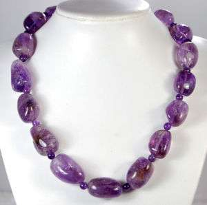 18x25mm Purple Amethyst Nugget Necklace 19
