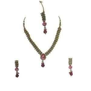 Pink Stone Kundan Jewelry Set Bollywood Trendy Necklace Earring Tikka
