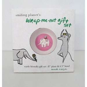 Wrap Me Not Gift Set   Pink Elephant Plate and Bowl Baby
