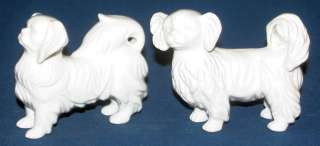 Porcelain China Japanese Chin or Pekingese Dog Figurines Cute!