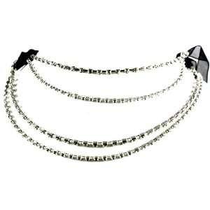 Designer Alex Carol Black Ribbon Multi Layered Ice Crystal