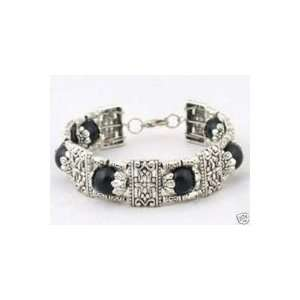 Fashion Jewelry ~ Black Imitation Jade Beads Silvertone