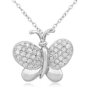 Silver and Cubic Zirconia Enchanted Butterfly Pendant Jewelry