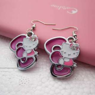 2012 Fashion HelloKitty With Pink Bow Girls Lady Friend Earring For