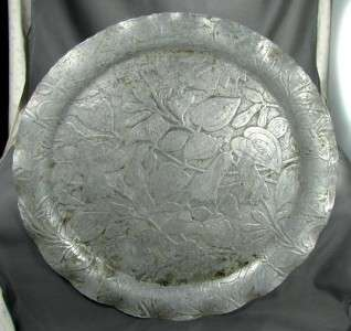 Company Hand Forged Aluminum Large Round Fleurette Tray