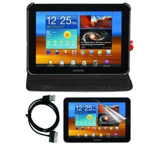 Black Leather Cover Case + cLear Screen Protector + USB Data Cable