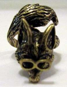 Fox With Glasses Ring Size 7 Antique Look New Animal Fashion Jewelry