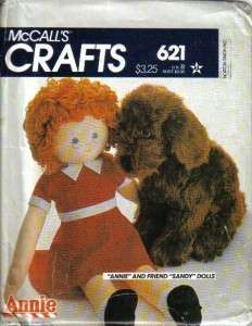 OOP McCalls Sewing Pattern 8118 Orphan Annie Rag Doll 36 Sandy Dog