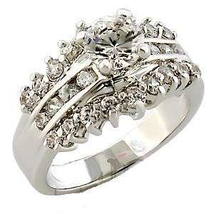 Rhodium rp Ladies Clear Crystal Ring Sz 5 10