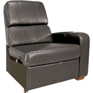 Black Leather Right Arm Reclining Home Theater Chair
