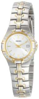 Seiko Ladies Two Tone Silver Tone Dial 16 Diamonds Bracelet Watch