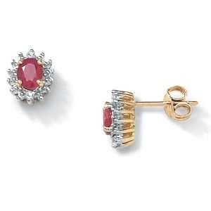 PalmBeach Jewelry Ruby 10k Gold Earrings Jewelry