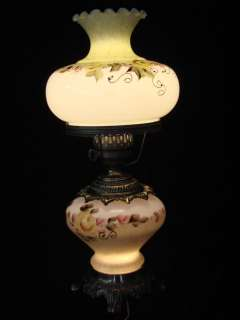 VTG Hand Painted Hurricane Table Lamp Night Light Gone With The Wind