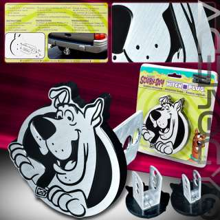 CARTOON SCOOBY DOO BRUSHED ALUMINUM TOWING HITCH PLUG COVER UNIVERSAL