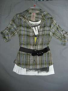 2Fer Yellow & Gray Plaid Live Life with Love Graphic Top Size Large