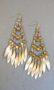 Jessica Simpson Gem Couture Crystal Gold Tone Chandelier Earrings