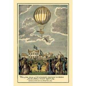 Vintage Art Ascent of Lunardis Balloon   Graphic representaion of a