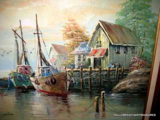 SIGNED LUINI HARBOR SCENE OIL PAINTING