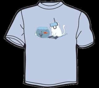 SCUBA CAT vs FISH T Shirt WOMENS funny vintage lolcat