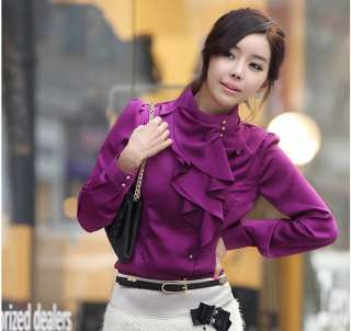 R070 New women long Sleeve Stand Collar Ruffle shirt tops blouse Size