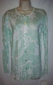 NWT ANNE BOWEN MINT GREEN & WHITE CARDIGAN SWEATER ~ XS